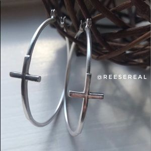 ✝️ Silver Tone Hoop Earrings with Cross ✝️